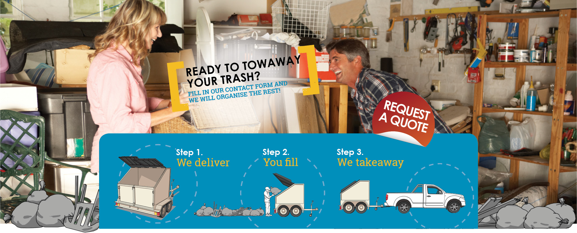 towaway trash, trailer skip bins, rubbish